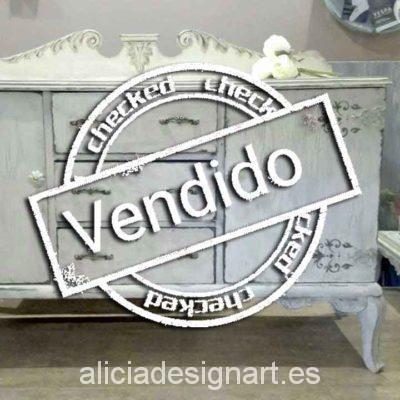Aparador Louis XV decorado Shabby Chic blanco - Taller decoración de muebles antiguos Madrid estilo Shabby Chic, Provenzal, Rómantico, Nórdico