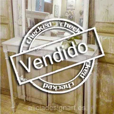 Consola expejo shabby chic blanco - Taller decoración de muebles antiguos Madrid estilo Shabby Chic, Provenzal, Rómantico, Nórdico