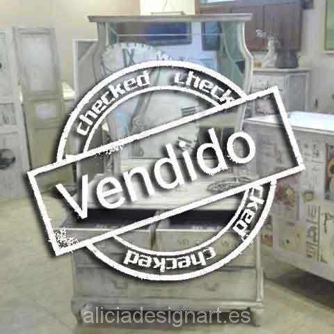 Tocador antiguo con espejo shabby chic verde - Taller decoración de muebles antiguos Madrid estilo Shabby Chic, Provenzal, Rómantico, Nórdico