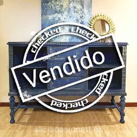 Aparador frances azul noche - Taller decoración de muebles antiguos Madrid estilo Shabby Chic, Provenzal, Rómantico, Nórdico