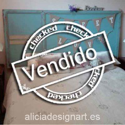 Cabecero verde nordico - Taller decoración de muebles antiguos Madrid estilo Shabby Chic, Provenzal, Rómantico, Nórdico