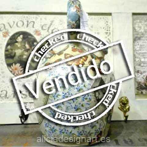 Botijo antiguo decorado con decoupage - Taller decoración de muebles antiguos Madrid estilo Shabby Chic, Provenzal, Rómantico, Nórdico
