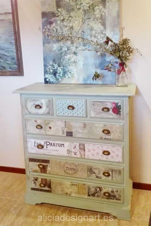 Comoda 7 cajones-Decoracíon de muebles antiguos estilo Shabby Chic