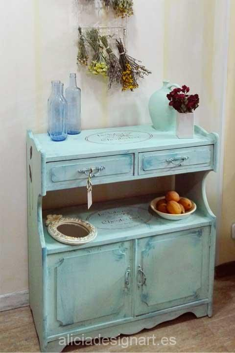 Aparador estilo vintage con amapolas -Decoracíon de muebles antiguos estilo Shabby Chic