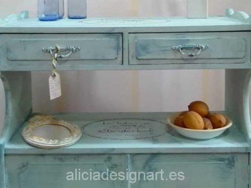 Aparador estilo Vintage Amapolas Verde Mint y Azul Vintage