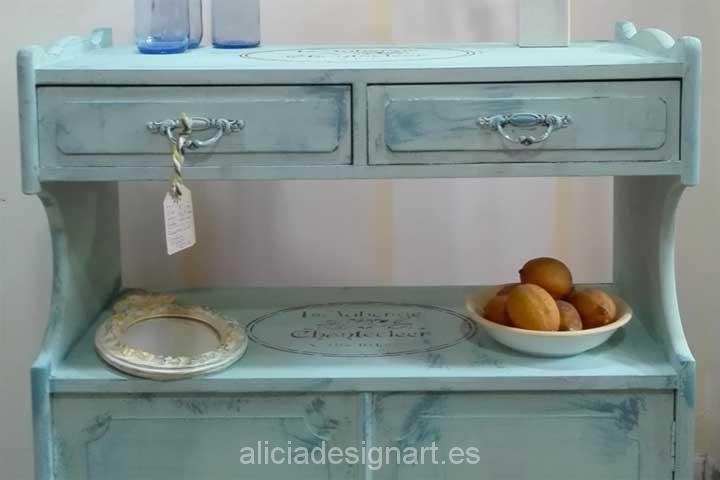 Artesanato Madeira Joinville ~ Aparador estilo Vintage Amapolas Verde Mint y Azul Vintage Alicia Designart