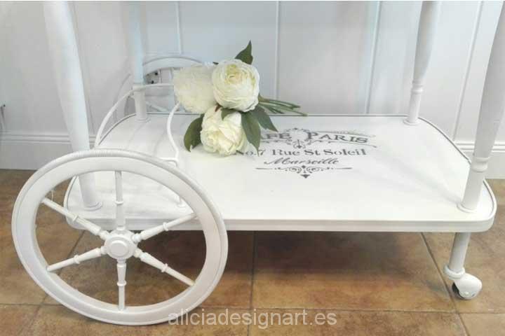 carrito camarera-Decoracíon de muebles antiguos estilo Shabby Chic