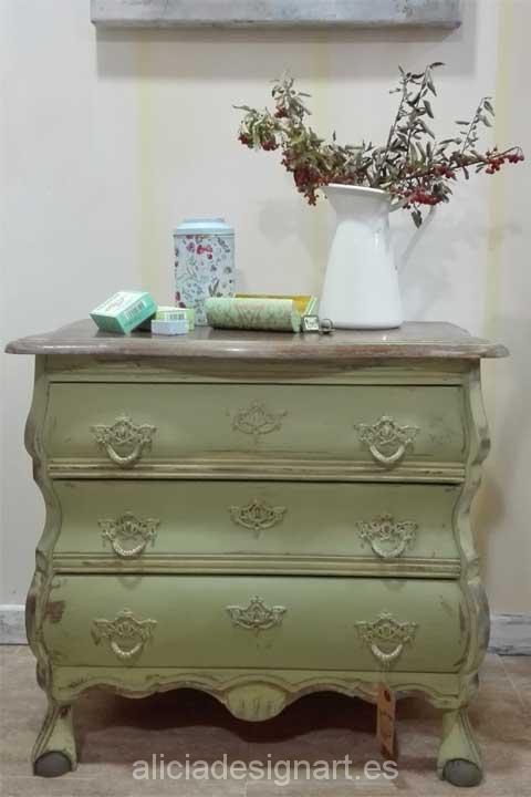 comoda abombada tres cajones-Decoracíon de muebles antiguos estilo Shabby Chic