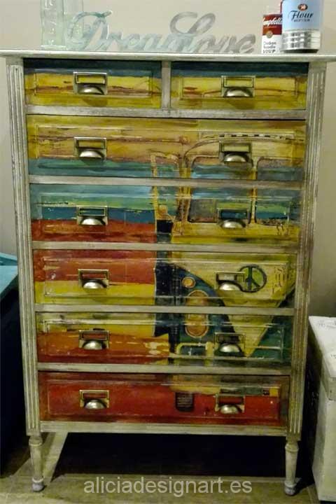 C moda sinfonier 7 cajones decorada estilo vintage retro for Muebles estilo shabby chic