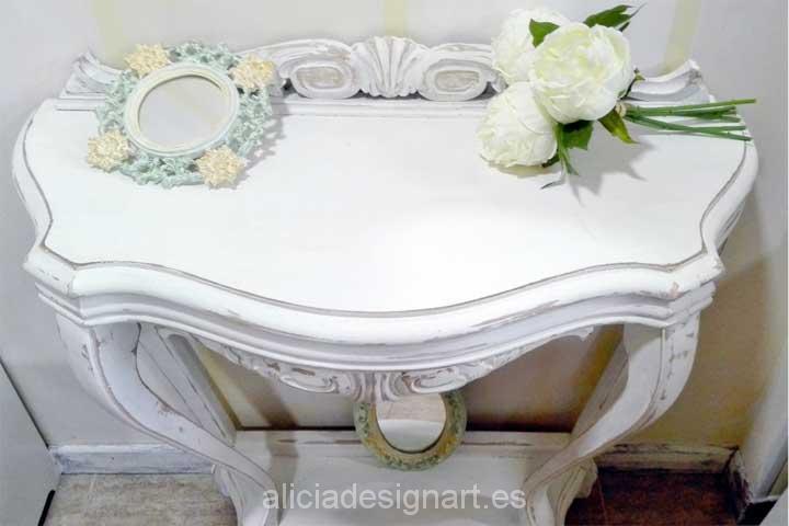 Consola y espejo cornucopia -Decoracíon de muebles antiguos estilo Shabby Chic