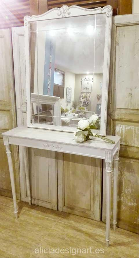 Consola con espejos Shabby Chic - Decoracíon de muebles antiguos estilo Shabby Chic, Provenzal, Rómantico, Nórdico