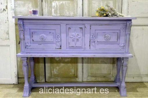 Consola malva estilo Shabby Chic - Decoracíon de muebles antiguos estilo Shabby Chic, Provenzal, Rómantico, Nórdico
