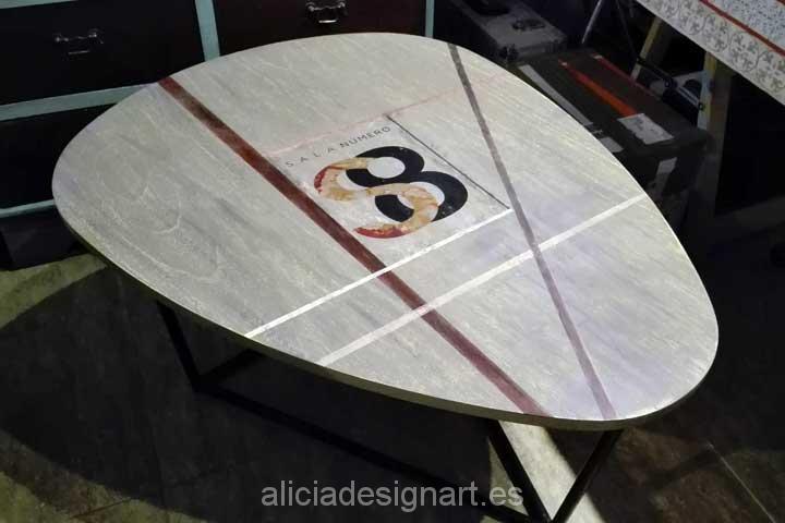 Mesa con logotipo de la Sala 8 - Decoracíon de muebles antiguos estilo Shabby Chic, Provenzal, Rómantico, Nórdico