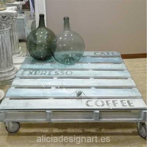 Mesita de centro palet cafe estilo retro industrial - Decoracíon de muebles antiguos estilo Shabby Chic, Provenzal, Rómantico, Nórdico