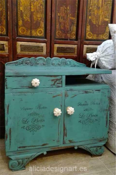 Mesita de noche estilo Shabby Chic - Decoracíon de muebles antiguos estilo Shabby Chic, Provenzal, Rómantico, Nórdico