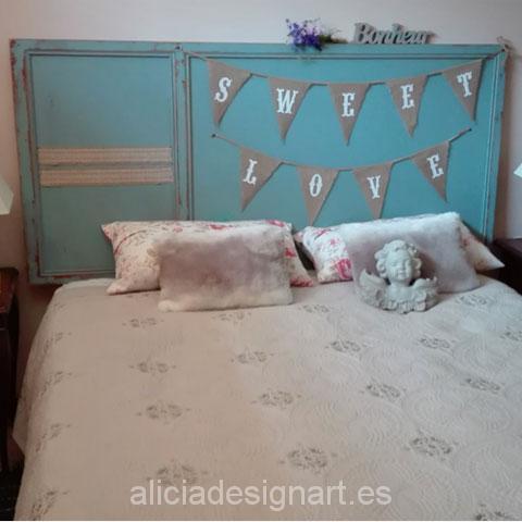 Cabecero Azúl Nórdico Vintage para cama de 2 personas