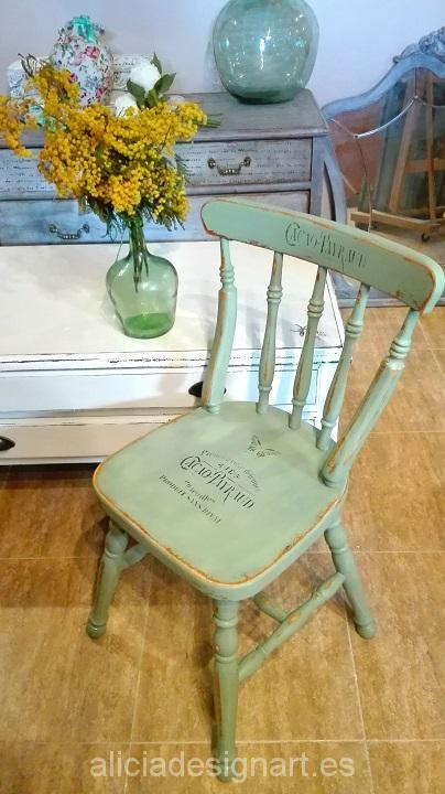 silla vintage nórdica verde hoja seca Alicia Designart
