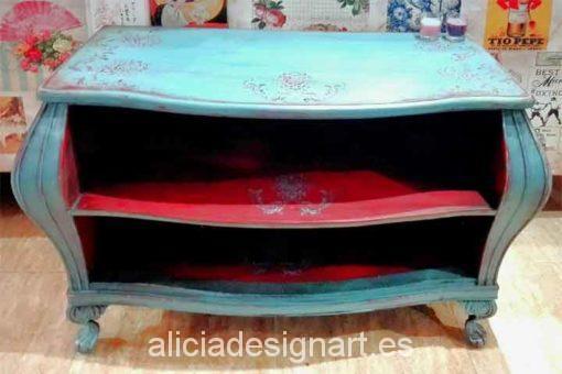 Consola antigua decorada en color Azul Nórdico y Rojo Garnacha - Decoracíon de muebles antiguos estilo Shabby Chic, Provenzal, Rómantico, Nórdico