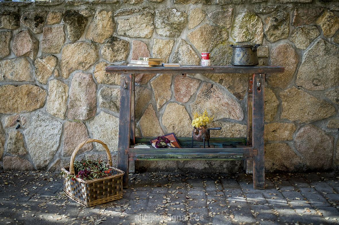 Banco industrial decorado - Taller decoracíon de muebles antiguos Madrid estilo Shabby Chic, Provenzal, Rómantico, Nórdico