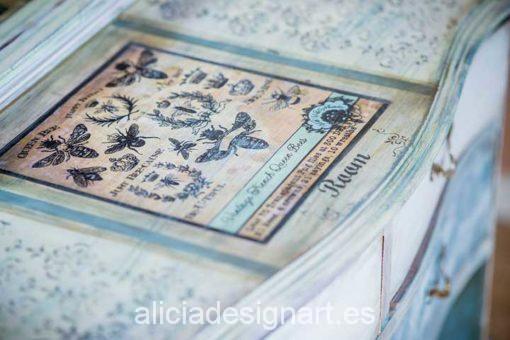 Comoda antigua con espejo decorada con abejas - Decoracíon de muebles antiguos estilo Shabby Chic, Provenzal, Rómantico, Nórdico