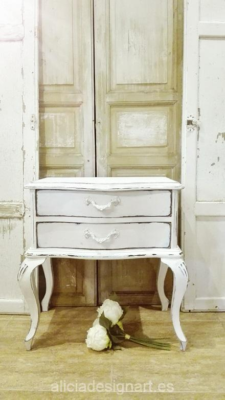 mesita vintage blanco antiguo shabby chic romántica