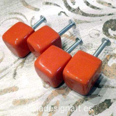 Tirador Boho Chic cubo rojo - Decoracíon de muebles antiguos estilo Shabby Chic, Provenzal, Rómantico, Nórdico