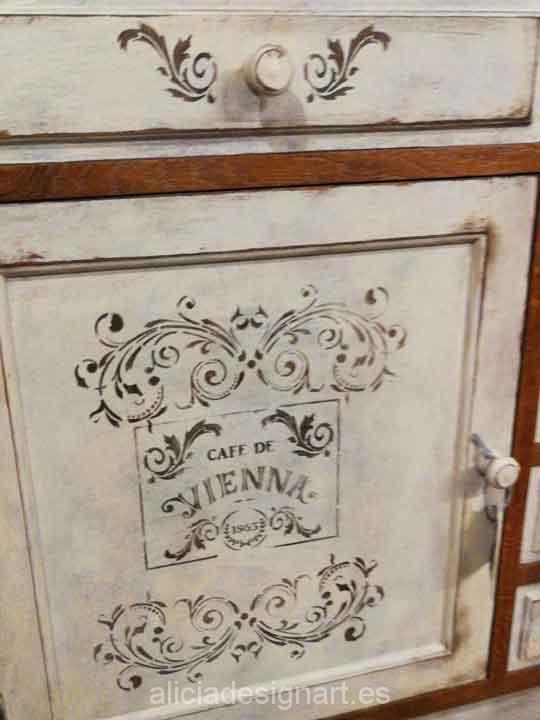 Muebles decorados con stencil - Taller decoracíon de muebles antiguos Madrid estilo Shabby Chic, Provenzal, Rómantico, Nórdico
