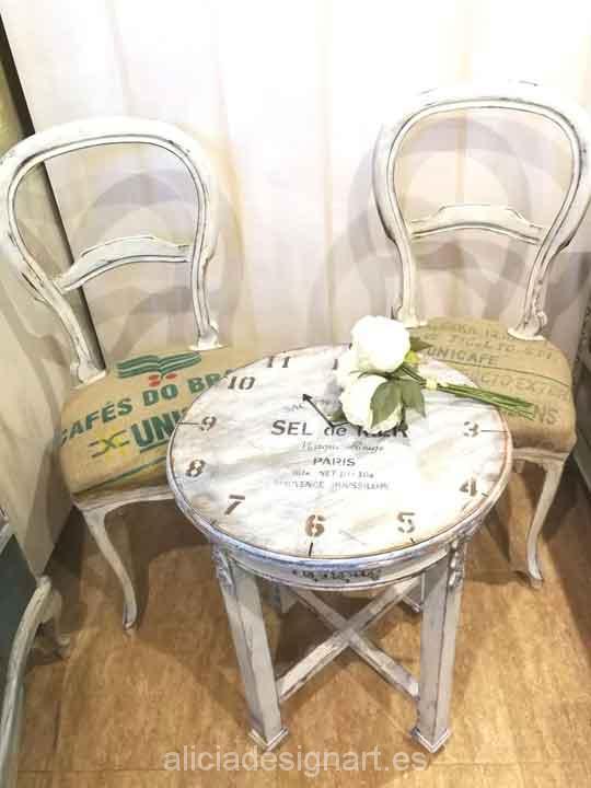 Mesita decorada con stencil Sel de Mer - Taller decoracíon de muebles antiguos Madrid estilo Shabby Chic, Provenzal, Rómantico, Nórdico