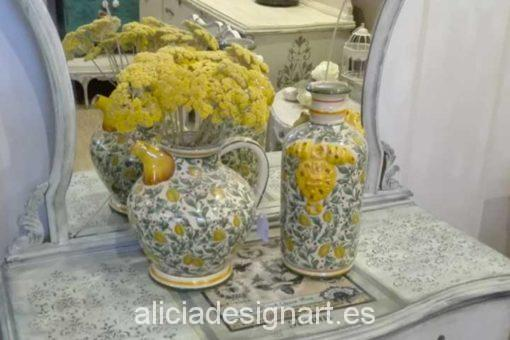 Jarrones napolitanos de cerámica con limones - Decoracíon de muebles antiguos estilo Shabby Chic, Provenzal, Rómantico, Nórdico