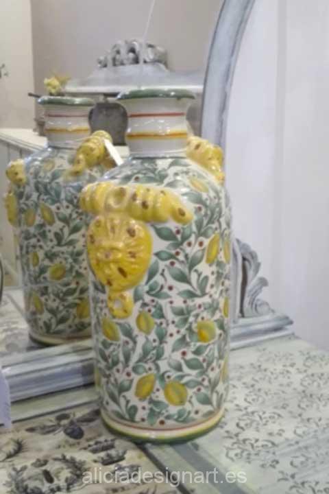 Jarrón napolitano alto con limones - Decoracíon de muebles antiguos estilo Shabby Chic, Provenzal, Rómantico, Nórdico