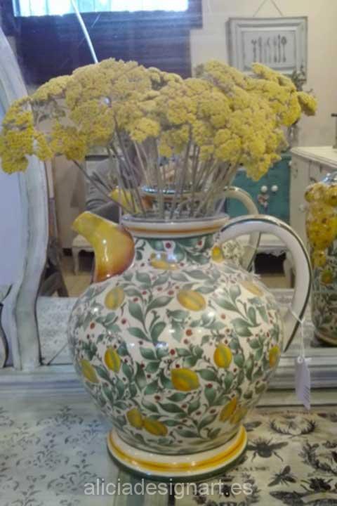 Jarrón napolitano panzudo con limones - Decoracíon de muebles antiguos estilo Shabby Chic, Provenzal, Rómantico, Nórdico