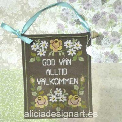 tela decorativa bienvenida sueca punto de cruz - Decoracíon de muebles antiguos estilo Shabby Chic, Provenzal, Rómantico, Nórdico
