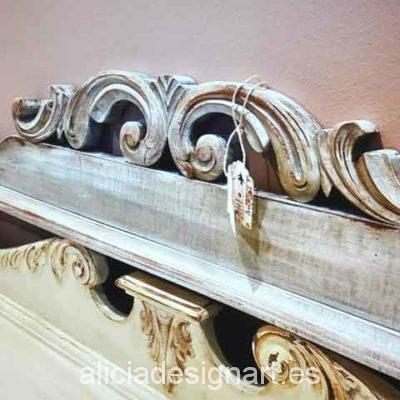 Cabecero copete antiguo cama doble - Decoracíon de muebles antiguos estilo Shabby Chic, Provenzal, Rómantico, Nórdico