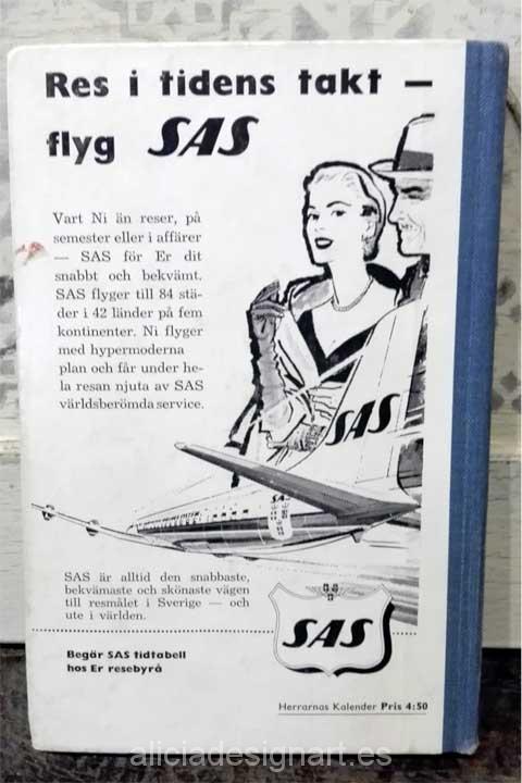Libro calendario sueco de 1959 contraportada - Decoracíon de muebles antiguos estilo Shabby Chic, Provenzal, Rómantico, Nórdico