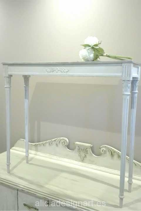 Consola Shabby Chic con espejo rectangular - Decoracíon de muebles antiguos estilo Shabby Chic, Provenzal, Rómantico, Nórdico