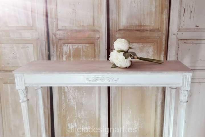 Consola y espejo rectangular, decorados estilo Shabby Chic blanco