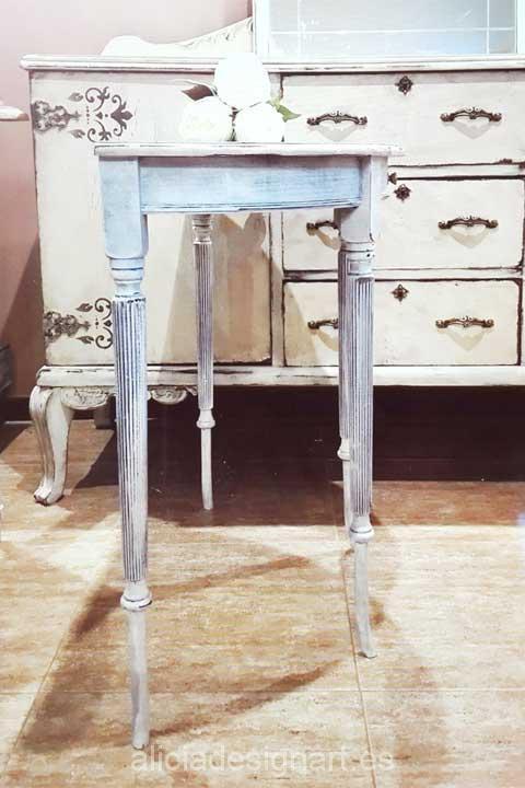Consola media luna con espejo ovalado - Decoracíon de muebles antiguos estilo Shabby Chic, Provenzal, Rómantico, Nórdico