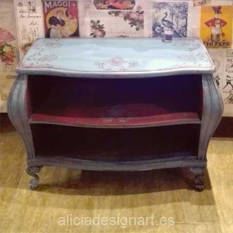 Consola abombada mueble TV - Decoracíon de muebles antiguos estilo Shabby Chic, Provenzal, Rómantico, Nórdico