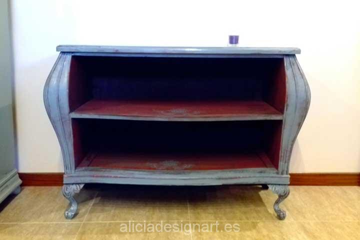 Mueble tv consola abombada boho azul y roja n 93 2017 for Muebles antiguos madrid