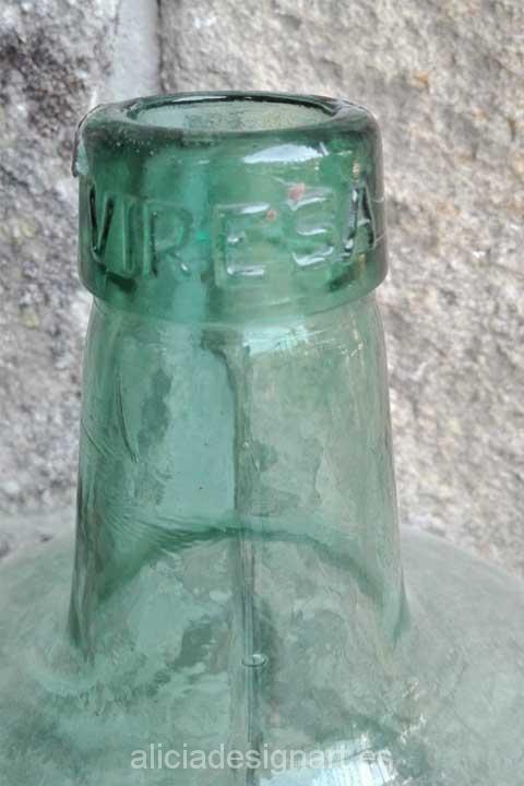 Damajuana Viresa 16 litros verde - Decoracíon de muebles antiguos estilo Shabby Chic, Provenzal, Rómantico, Nórdico
