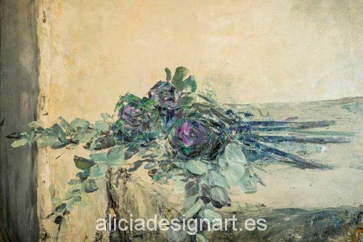 Papel de arroz para decoupage Rosas azules - Decoracíon de muebles antiguos estilo Shabby Chic, Provenzal, Rómantico, Nórdico