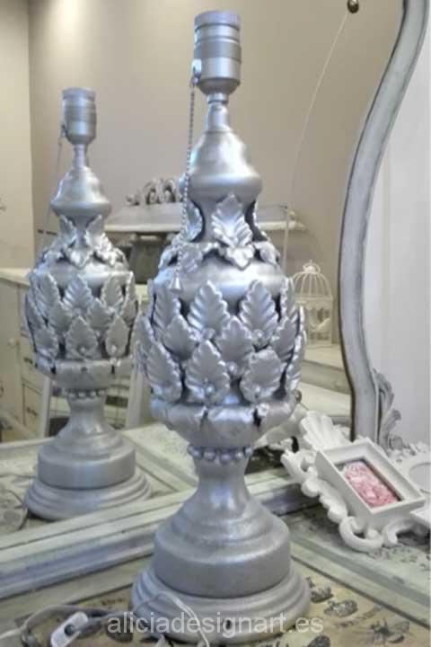 Pie de lámpara estilo Manises - Decoracíon de muebles antiguos estilo Shabby Chic, Provenzal, Rómantico, Nórdico