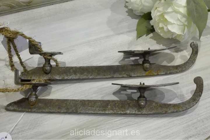 Patines de hielo suecos antiguos - Decoracíon de muebles antiguos estilo Shabby Chic, Provenzal, Rómantico, Nórdico