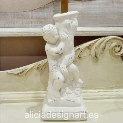 Portavelas amorcillo con tritón - Decoracíon de muebles antiguos estilo Shabby Chic, Provenzal, Rómantico, Nórdico