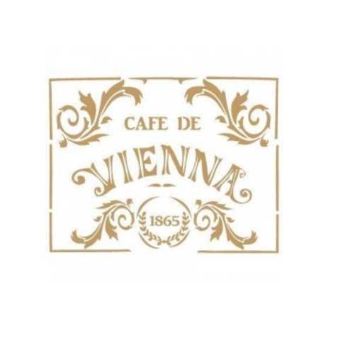 Stencil para decoración Cafe de Vienna - Decoracíon de muebles antiguos estilo Shabby Chic, Provenzal, Rómantico, Nórdico
