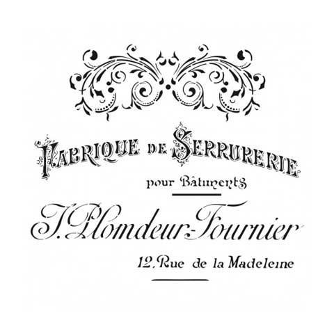 Stencil para decoración Fabrique de serrurerie - Decoracíon de muebles antiguos estilo Shabby Chic, Provenzal, Rómantico, Nórdico