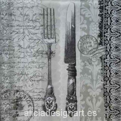 Servilleta para decoupage con cubiertos y sello - Decoracíon de muebles antiguos estilo Shabby Chic, Provenzal, Rómantico, Nórdico