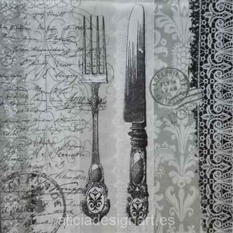 Servilleta para d coupage con cuberter a y sello alicia for Decoupage con servilletas en muebles