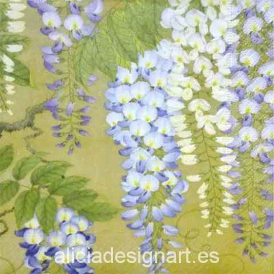Servilleta para decoupage con glicina wisteria - Decoracíon de muebles antiguos estilo Shabby Chic, Provenzal, Rómantico, Nórdico