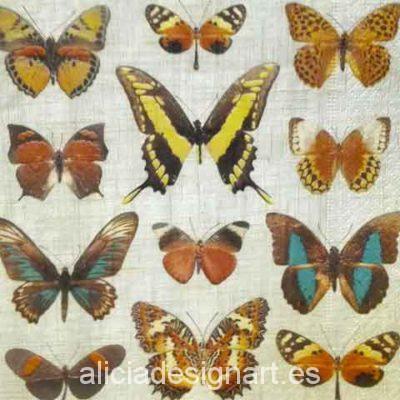Servilleta para decoupage con mariposas - Decoracíon de muebles antiguos estilo Shabby Chic, Provenzal, Rómantico, Nórdico